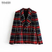 Fashion Za Vintage Vrouwen Patchwork Plaid Tweed Jas Double Breasted Pocket Lange Mouwen Vrouwelijke Jas Casaco Femme Blazerfenimino(China)