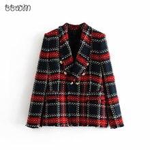 527e42399 Fashion Za Vintage Women Patchwork Plaid Tweed Jacket Double Breasted  Pocket Long Sleeve Female Coat Casaco Femme Blazerfenimino