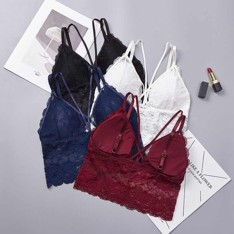 a8981800ff ... 2019 Embroidery Bra Women Wine Red Blue White Black Lace Bralette Plus  Size Bra Push Up ...