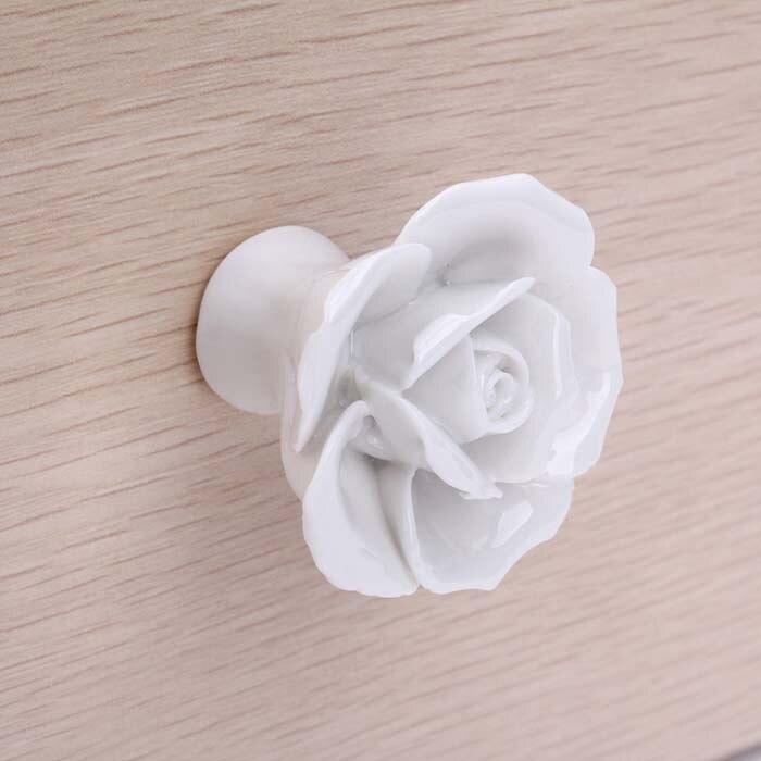 Online Shop Vintage Rose Flower Ceramic Door Knob white Creative ...
