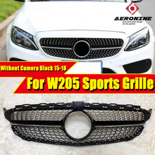 For MercedesMB C205 W205 Grille grill gloss black ABS C class Diamonds Front grille without Camera &without sign 2015-2018