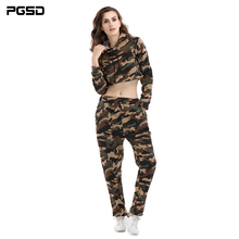 PGSD New Spring autumn Camouflage hooded Short sweater sports Elastic Waist trousers casual suit Fashion women clothes female