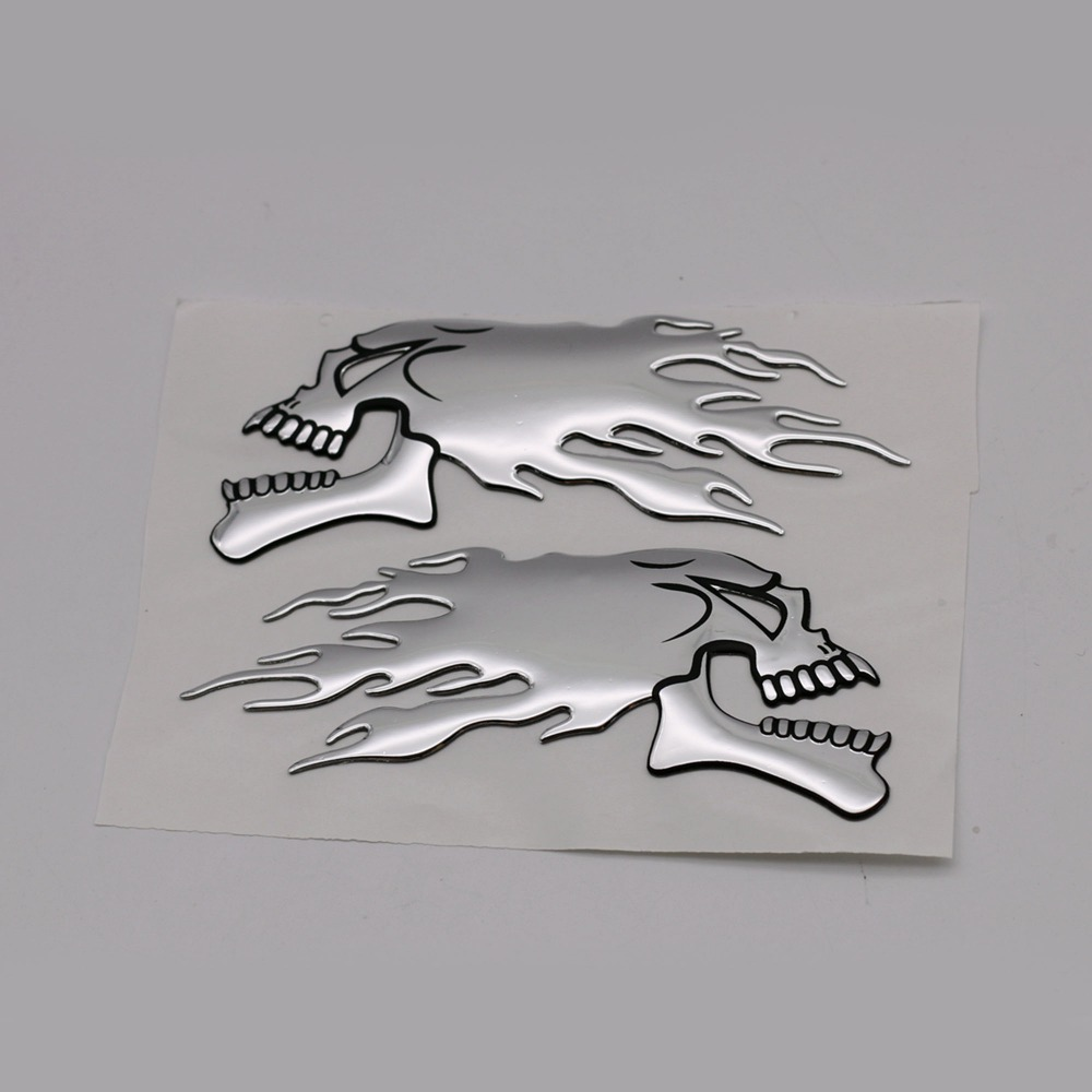 2pcs/pair 3d Chrome Ghost Skull Head Auto Motorcycle Car Sticker Emblem Decals For Haley Honda Yamaha Kawasaki Suzuki 14.5x5.5cm