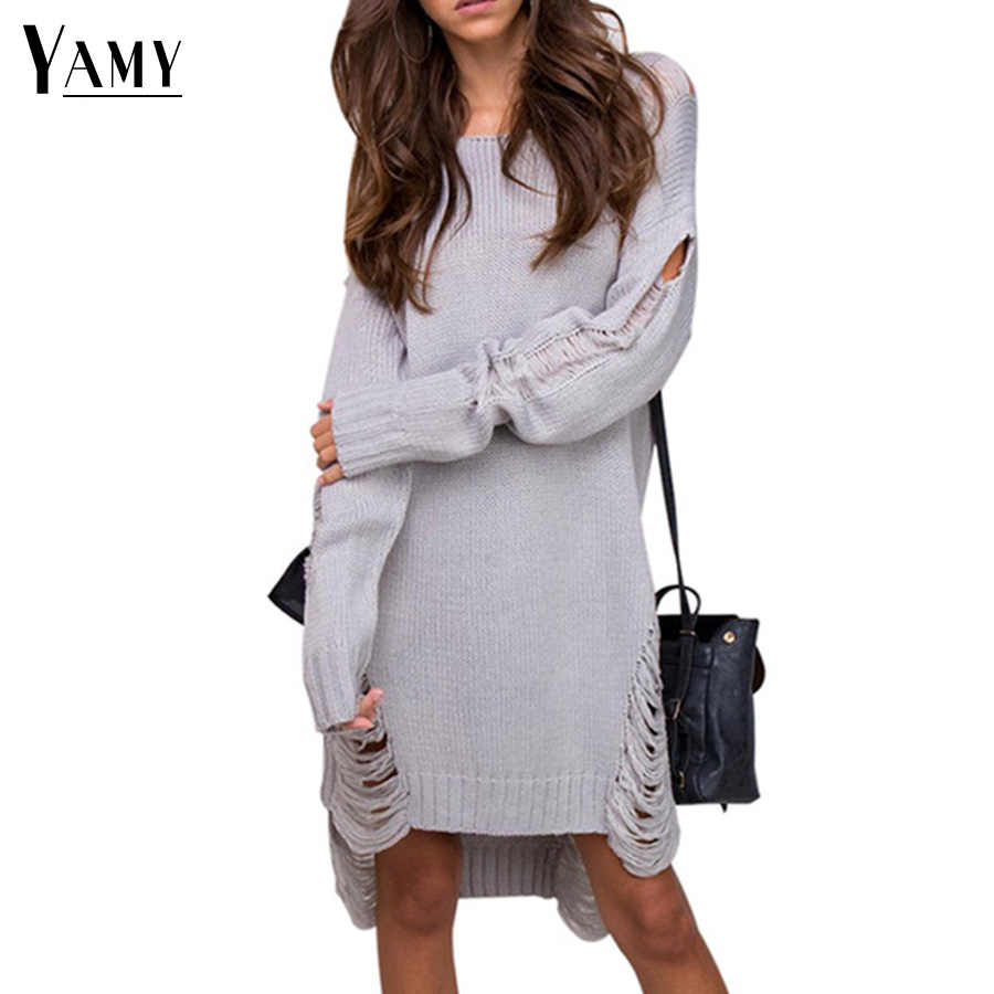 Winter ripped women sweaters and pullovers fall 2017 fashion backless long  sleeve casual black knitted sweater ae4992b9e