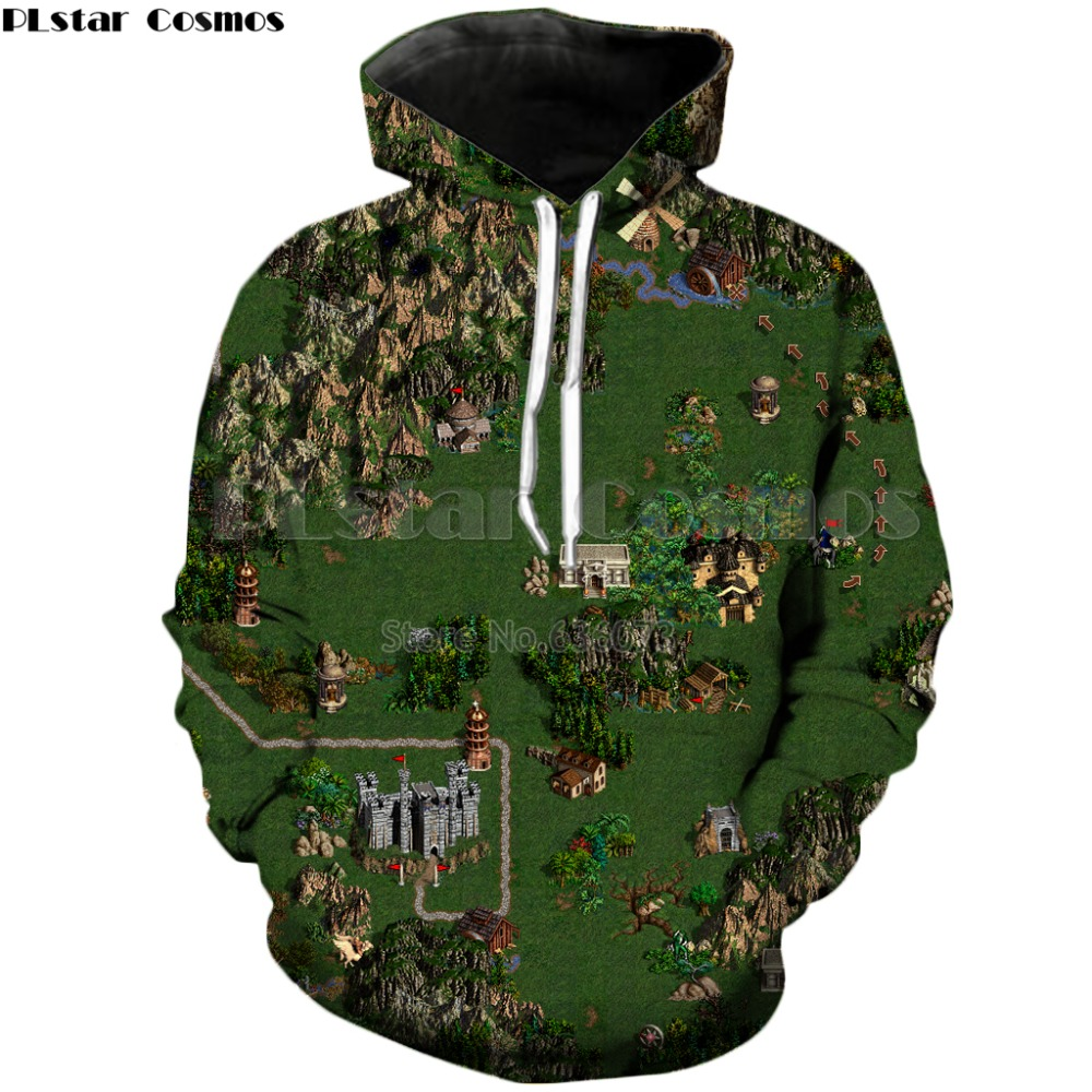 PLstar Cosmos Heroes Of Might & Magic 2018 New Design Games Map 3d Print Hoodies Mens Fashion Sweatshirt Casual Unisex Hoodies