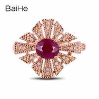 BAIHE Solid 14k Rose Gold Millgrain Brilliant Gemstone Engagement Wedding Ring 5x6mm Oval Natural Ruby Diamonds Vintage Art Deco
