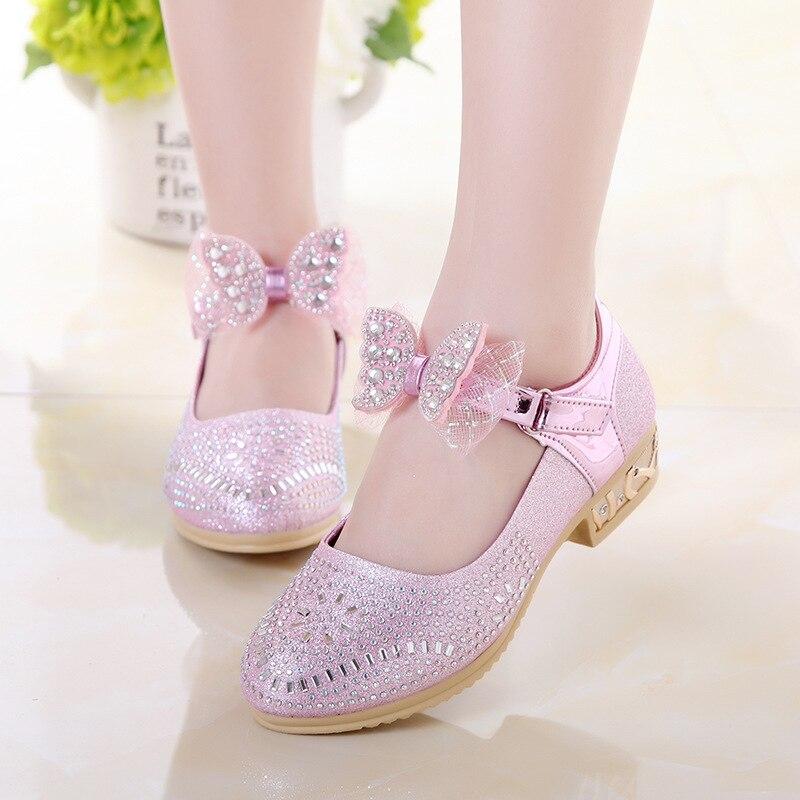 Princess Kids Leather Shoes For Girls Dress Rhinestone Bow High Heel Wedding Shose Big Children Shoes 3 4 5 6 7 8 9 10 11 Year