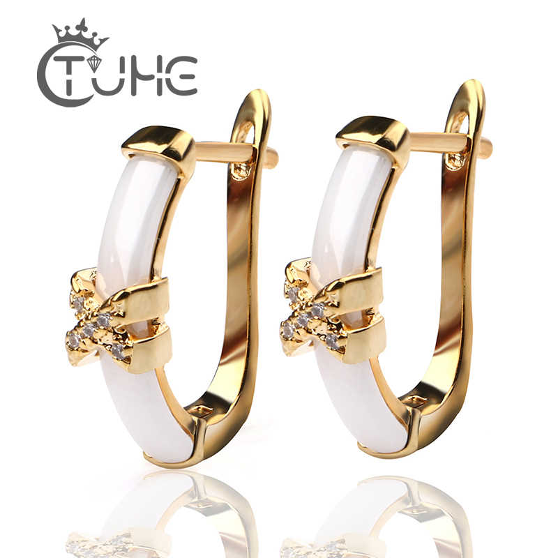 2018 Fashion Colorful Stud Earrings For Women Wedding Gold Cross Smooth White Ceramic Earrings Trendy Shiny Christmas Gift