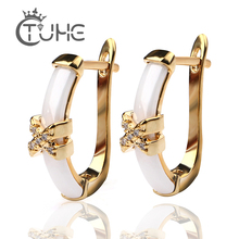 2018 Fashion Colorful Stud Earrings For Women Wedding Gold Cross Smooth White Ceramic Trendy Shiny Christmas Gift