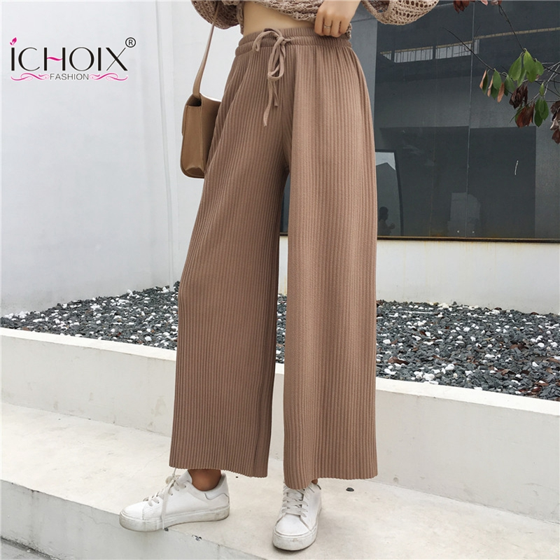 ICHOIX 2019 New Style Pleated Women   Pants   Elegant Loose Slim Long   Pants   Solid Color   Wide     Leg     Pants   Korean Fashion Casual   Pants