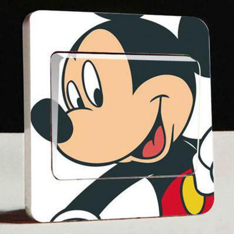 1pcs Hot Cute Mickey Switch Sticker, Children's Room Bedroom Home Wall Art Decal Amusement Park, Living Room Bedroom Decoration