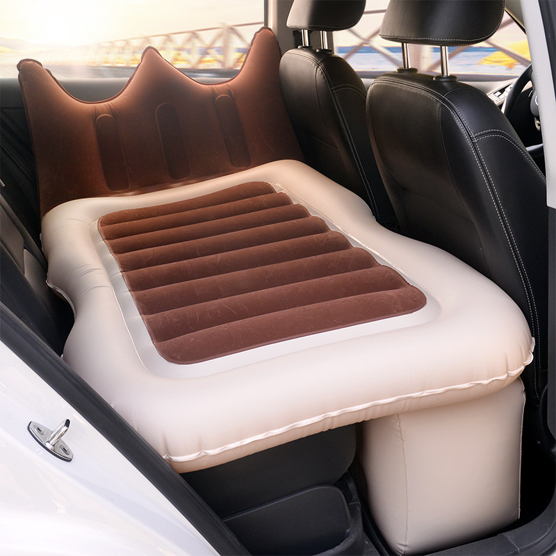 Car Travel Bed Camping Flocking Inflatable Car Mattress Colchon Inflable Para Auto Back Seat Cover Car Air Mattress