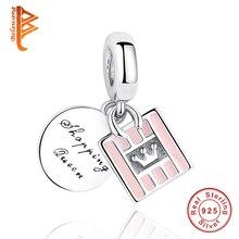 925 пробы серебро Благородная королева шоппинга мешок, Очаровательные бусы, подходят к оригинальному BW браслет