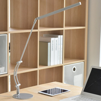 DONWEI 5W Metal LED Swing Arm Desk Lamp Dimmable Flexible Arm Lamp for Book Reading Office 3 Brightness dimmer Table Light