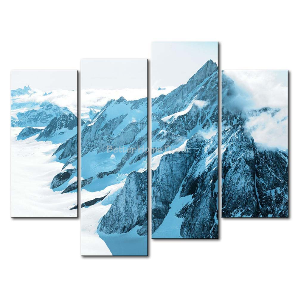 3 Piece Blue Wall Art Painting Mountain Range In Greenland