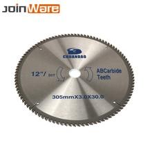 Hoja de sierra Circular de 12 pulgadas, disco de corte de madera de 80T/100T/120T, hoja de carburo para carpintería, herramienta eléctrica de aluminio y madera de 30x3x30mm