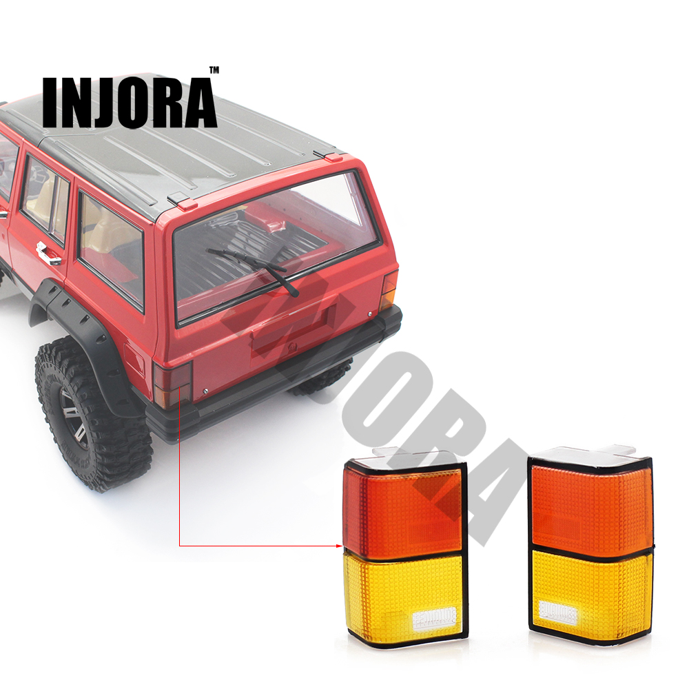 INJORA 2Pcs Tail Light Cover for 1/10 RC Crawler D90 Axial SCX10 90046 90047 Car Shell Body injora roof rack luggage carrier with light bar for 1 10 rc crawler d90 axial scx10 90046
