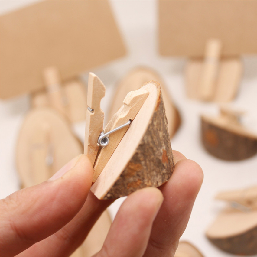 10pcs/lot Creative Bevel Original Home Decoration Wooden Clip Wedding Party Card Holder Stand Office Business Card Photo Clips