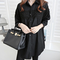 2016 Spring White Maternity Blouse Hot Long Sleeve Maxi Office Wear Shit Dresses Clothes For Pregnant Women Pregnancy Clothing