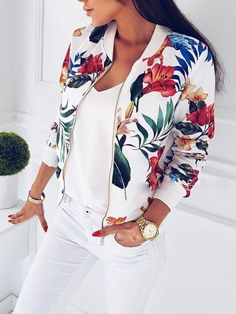 Fashion Women Ladies Retro Floral Zipper Up Bomber Jacket Casual Coat Outwear