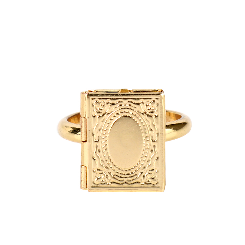 European And American Movie Jewelry Women Charm Ring HP Magic Book Opening Rings Adjustable Finger Ring