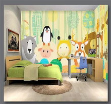 3D wallpaper hand-painted cartoon animal childrens room background wall professional making mural photo