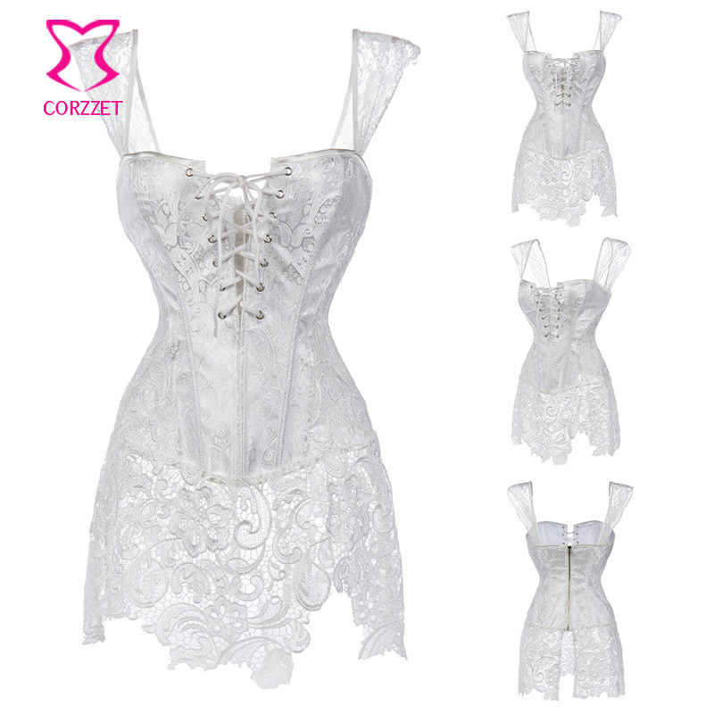 5c556da9e99 ... XS-6XL White Brocade Hollow Out Lace Victorian Gothic Dresses Sexy Short  Corset Dress Plus