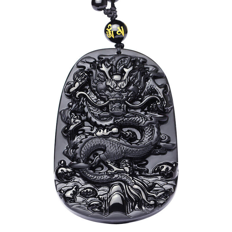 Natural Black Obsidian Carved Dragon Necklace Pendant Brave Man Amulet Lucky Gift Energy Stone Healing Fine Fishion Jewelry