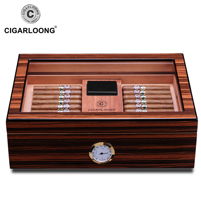 Boîte à cigarettes avec serrure en bois de cèdre | Affichage en verre de cèdre, humidificateur de cigare, boîte à cigarettes avec palette en bois, hygromètre, humidificateur adapté aux cigares