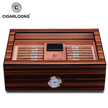 Cedar Wood Glass Display Cigar Humidor Case Cigarette Box W/Lock Pallet Hygrometer Humidifier Fit COHIBA Cigars CLA-0081-1