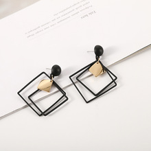 Hot Style Lozenge Earrings Korean Temperament Long Pendant Personality with Simple Large Resin  Cross