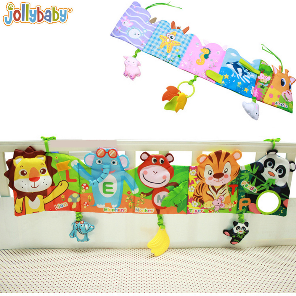 1 unids jollybaby bebé alrededor y libro de tela con modelo animal bebé juguetes para cama de bebé