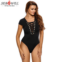 SEBOWEL Summer Sexy Black Lace Up Short Sleeve Bodysuits Woman 2019 Strappy Deep V-neck Female Ladies Body Top Casual Clothes black deep v neck strappy lace top