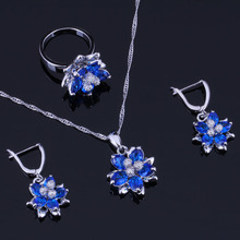 Royal Flower Blue Cubic Zirconia White CZ 925 Sterling Silver Jewelry Sets For Women Earrings Pendant Chain Ring V0296 trendy water drop blue cubic zirconia white cz 925 sterling silver jewelry sets for women earrings pendant necklace bracelet