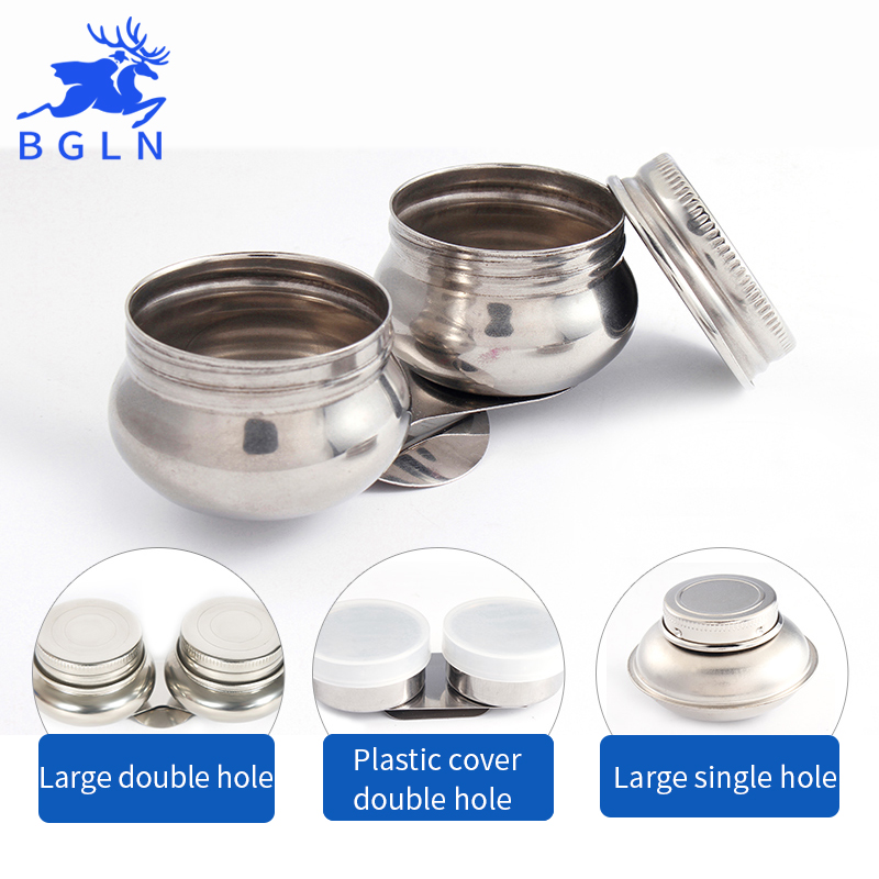 Bgln 1Piece Four Option Stainless Steel Oil Palette Single&Double Hole Dipper Painting Oil Pot For School Student Art Supplies