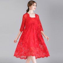 Lace Dress Mesh Red Spring Women 2019 Plus Size Party Vintage Sexy Fashion Casual Oversized Dresses Summer Work 4XL