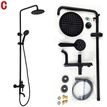 Dofaso shower faucet black Soild brass oil-rubbed bronze shower faucet black shower set dual handle dual control wall mount oil rubbed bronze bathrrom dual towel bar towel hanger soild brass wall mount