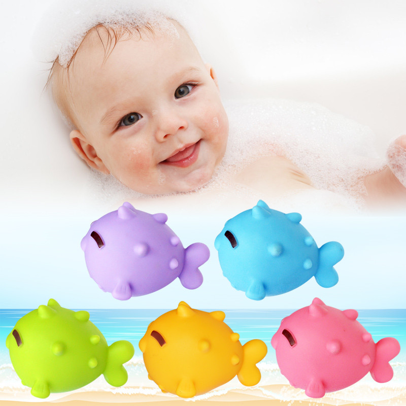 5 Pcs/set Kawaii Rubber Fish Baby Bath Toys Colorful Soft Floating Fish Bathroom Water Play Toys For Children Happy Bathing
