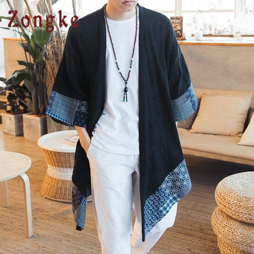 Zongke chino Kimono hombres Cardigan abierto Stitch tradicional para hombre Kimono Cardigan más tamaño largo Kimono chaqueta hombres 2018 verano