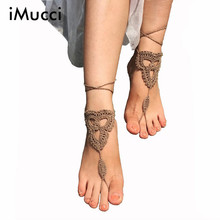 iMucci Crochet Barefoot Tan Barefoot Sandles Fashion Beach Pool Nude Simple Yoga Belly Dance ShoesFoot jewelry Anklets