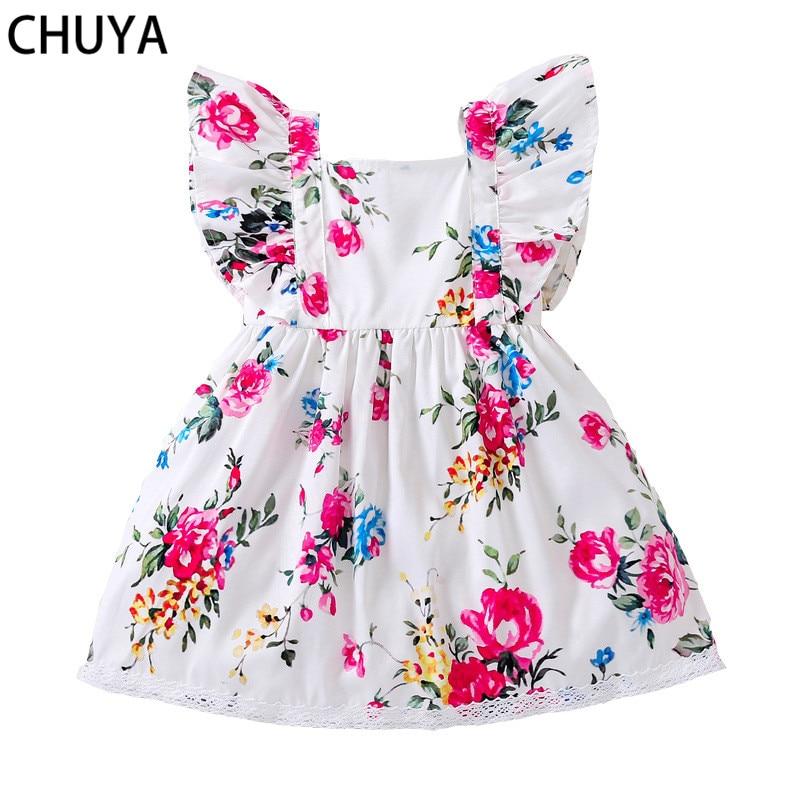 CHUYA Summer Baby Girls Dress Sleeveless Floral Girls Clothes For Baby Girl Sundress Clothes 2018 Fashion Cute Baby Dress