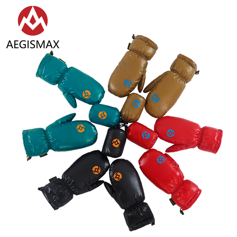 AEGISMAX Unisex Winter Outdoor Keep Warm Down Gloves 800FP White Goose Down Skiing Gloves