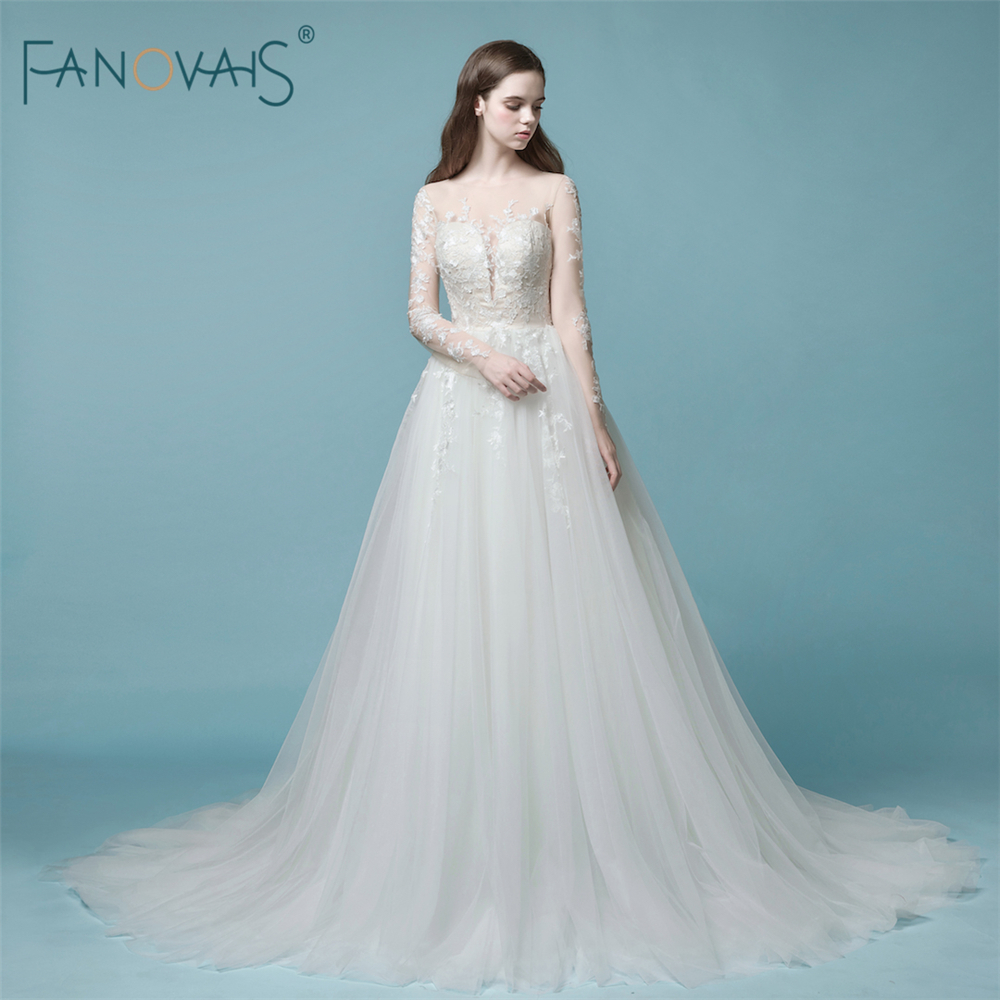 High Quality 2018 Wedding Dresses Long Sleeve See Through Lace ...