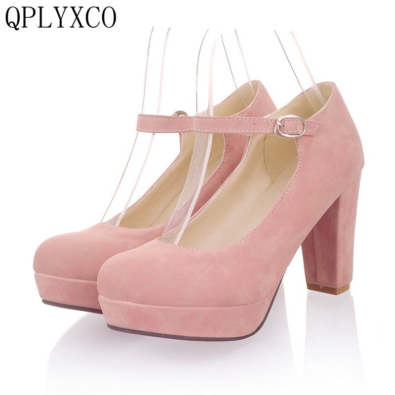 QPLYXCO New sale Elegant women shoes big size 34-43 Pumps shoes round toe high heels(9cm) wedding shoes woman zapatos mujer D22 new luxury wedding shoes women high heels platform shoes woman round toe performance stage shoes beige pearl big size high pumps