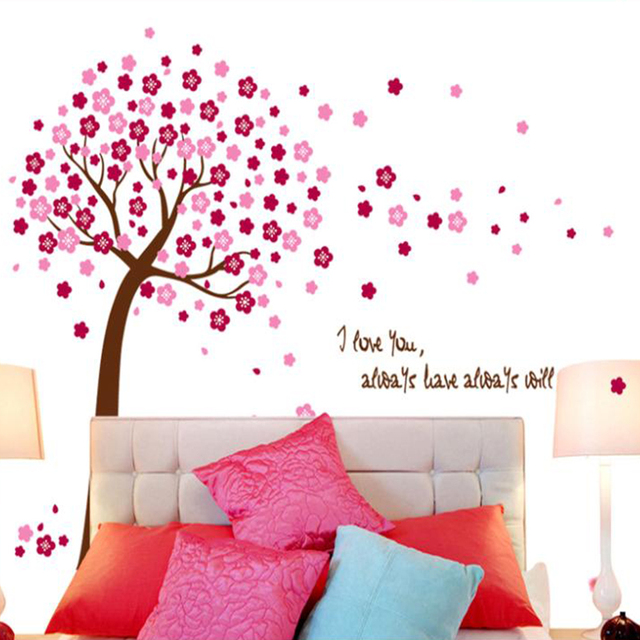 romantic peach hot pink blue flower tree home decor wall stickers ...