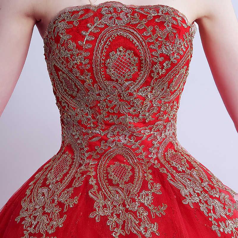 Новинка 2017 года; стильное платье настоящая фотография без бретелек Красный развертки Кисть Поезд золотой кружева со шлейфом Свадебное платье индивидуальный заказ Бесплатная доставка XXN141T