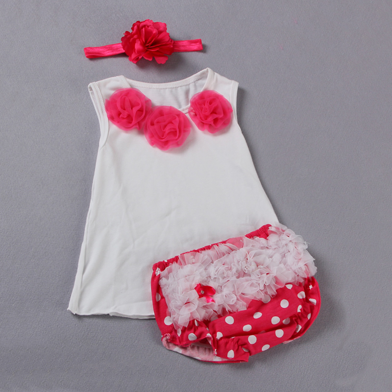 3pcs Infant Baby Girl Clothes Newborn Baby Girls Kids Pink Flower White Tank Tops T shirt +Shorts Bloomers Pants Clothing Sets