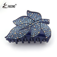 Best Quality Luxury Acetate Rhinestones Hair Claw Clip For Women Gilrls Large Size Leaves Shape Hair