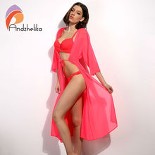 Andzhelika Swimsuit Cover Up 2018 Women Sexy Beach Cover-Ups Chiffon Long Dress Solid Beach Cardigan Bathing Suit Cover Up