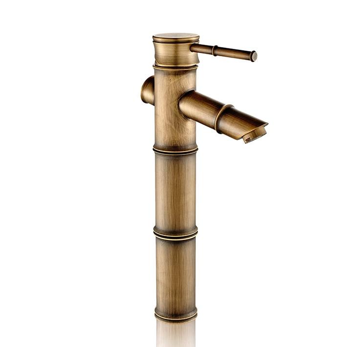 Bamboo shape DIY antique bronze copper bathroom sink faucet basin mixer water tap single handle/hole